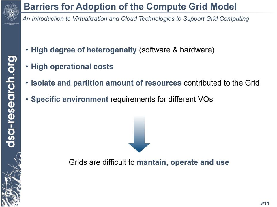 partition amount of resources contributed to the Grid Specific