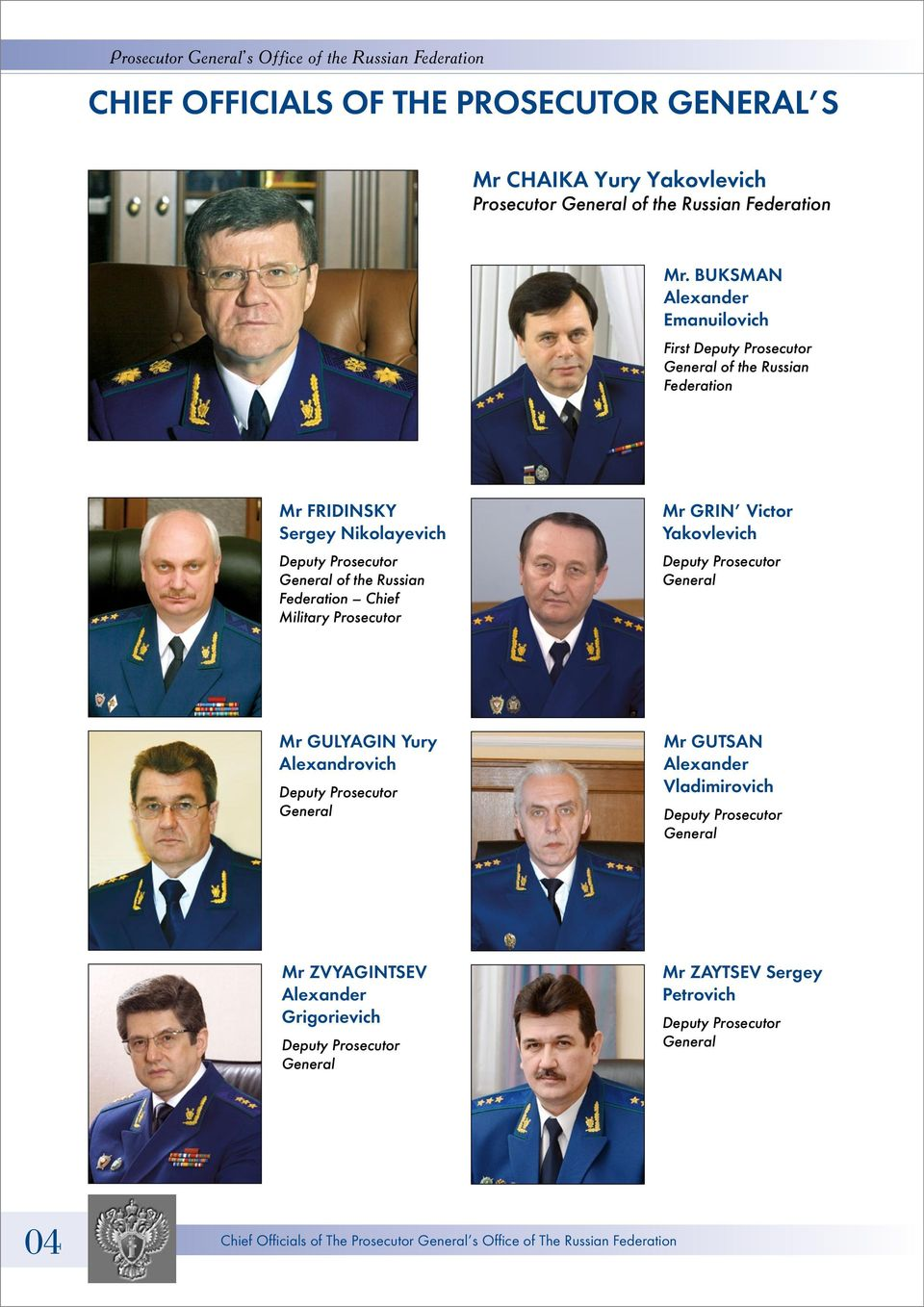 Federation Chief Military Prosecutor Mr GRIN Victor Yakovlevich Deputy Prosecutor General Mr GULYAGIN Yury Alexandrovich Deputy Prosecutor General Mr GUTSAN Alexander