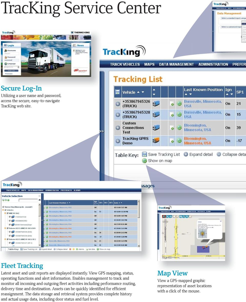 Enables management to track and monitor all incoming and outgoing fleet activities including performance routing, delivery time and destination.