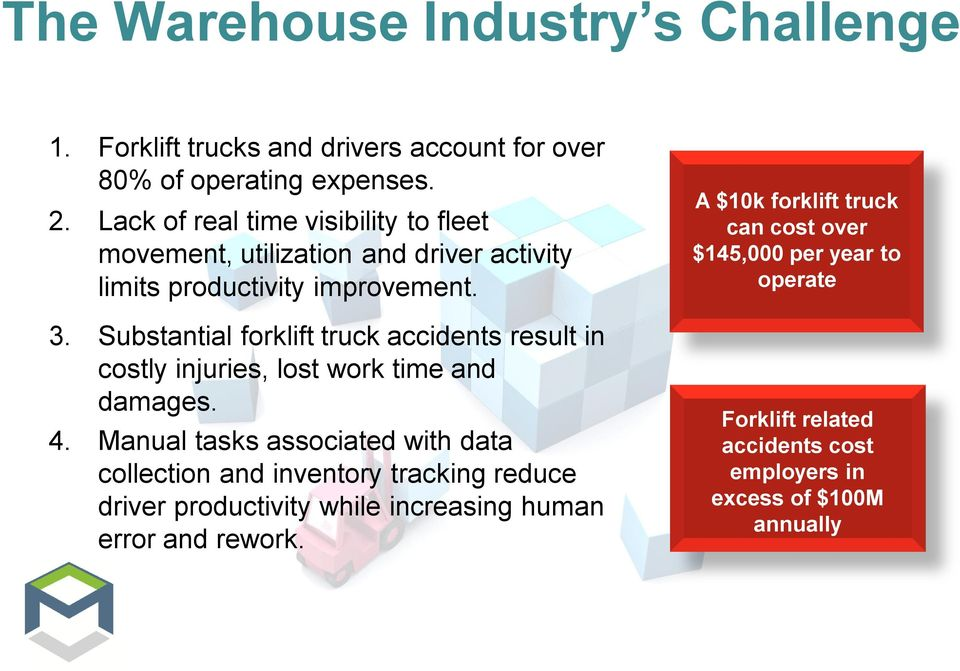 Substantial forklift truck accidents result in costly injuries, lost work time and damages. 4.
