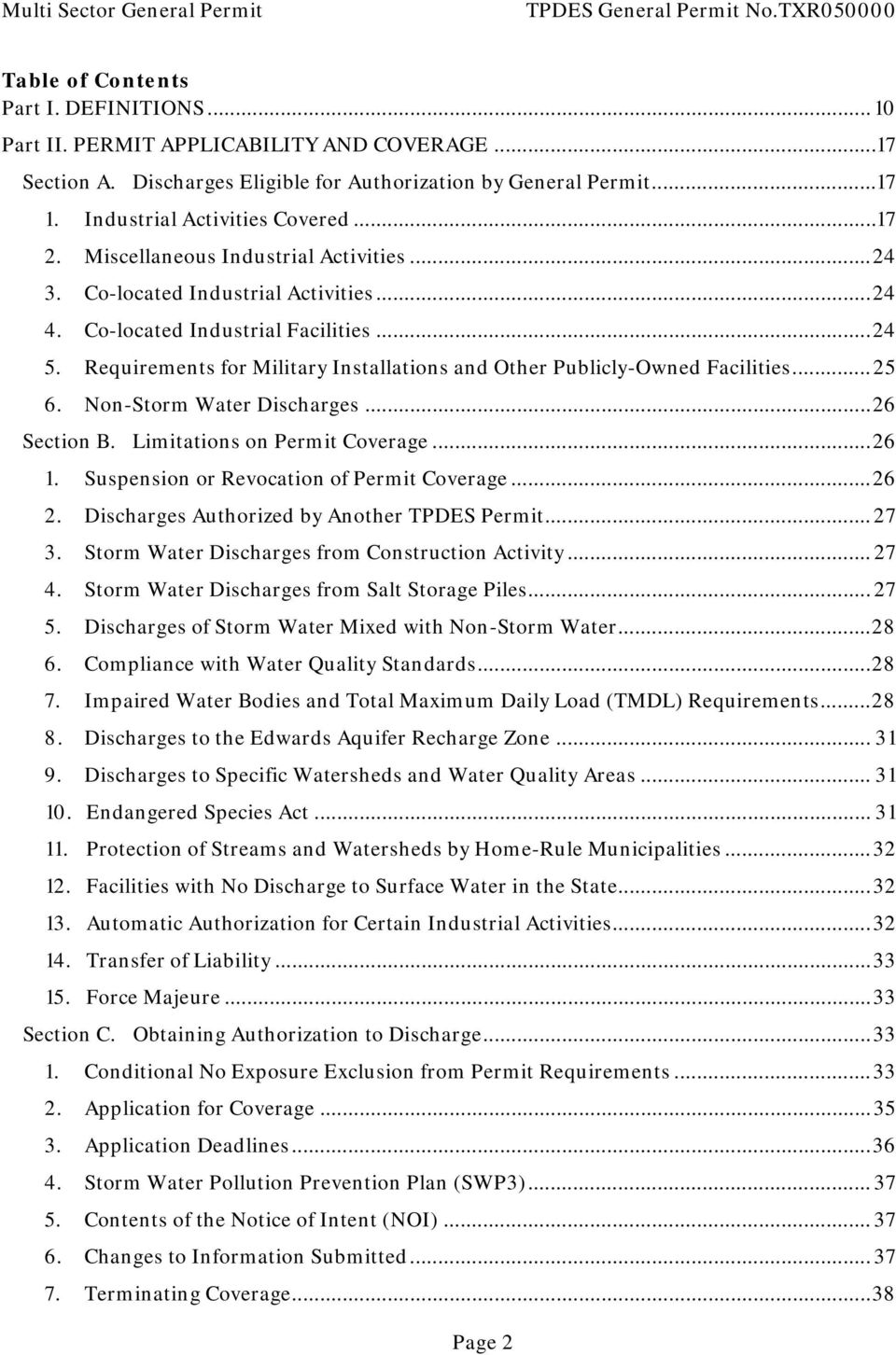 Co-located Industrial Facilities... 24 5. Requirements for Military Installations and Other Publicly-Owned Facilities... 25 6. Non-Storm Water Discharges... 26 Section B.