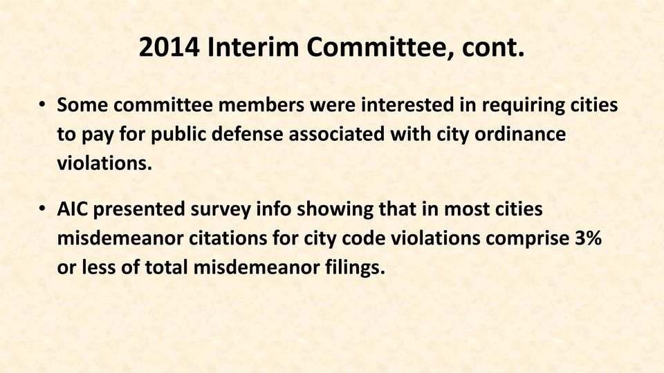 defense associated with city ordinance violations.