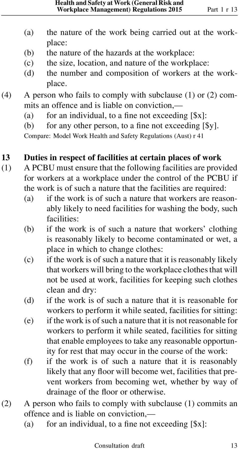 (4) A person who fails to comply with subclause (1) or (2) commits an Compare: Model Work Health and Safety Regulations (Aust) r 41 13 Duties in respect of facilities at certain places of work (1) A