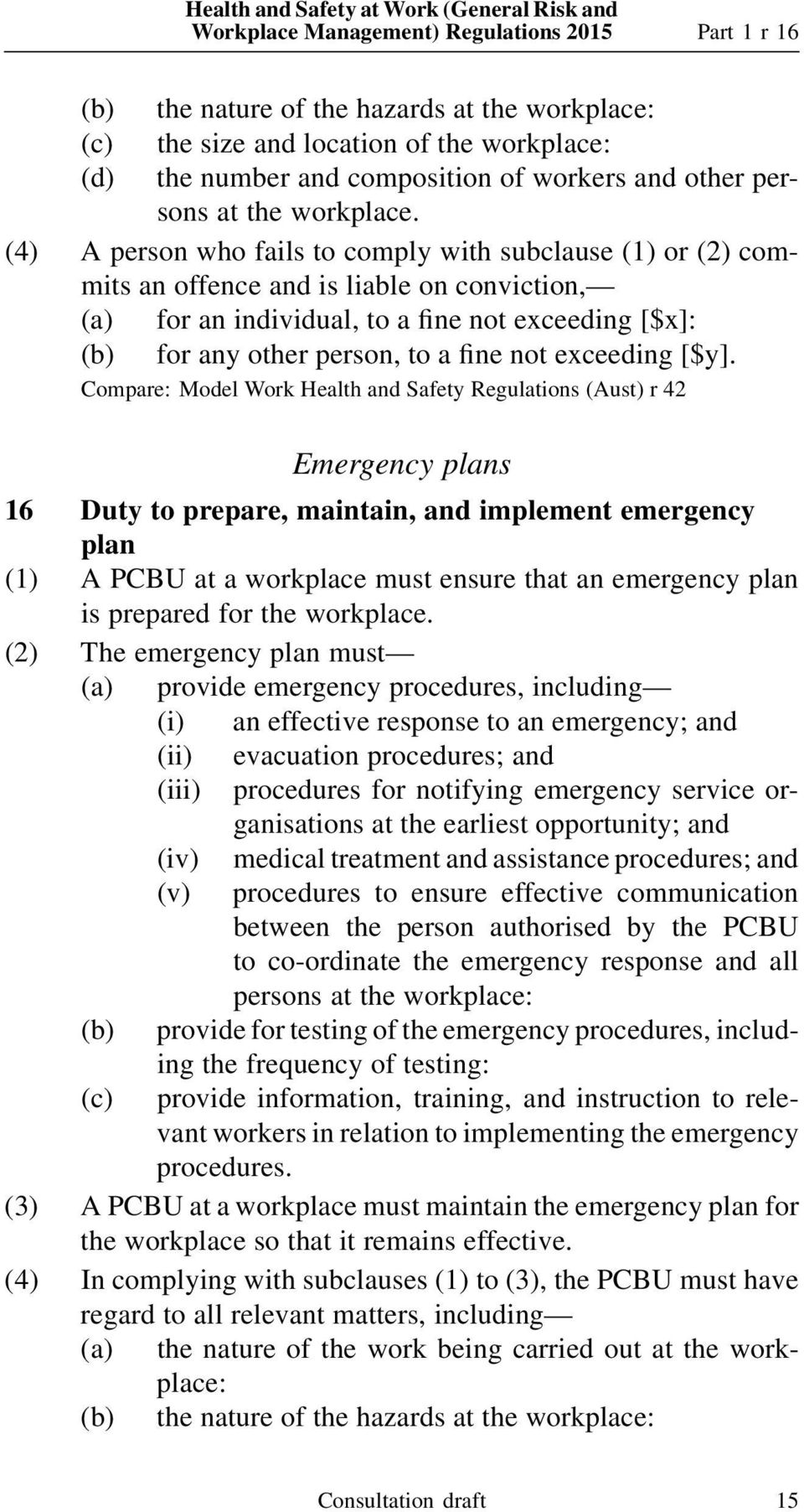 (4) A person who fails to comply with subclause (1) or (2) commits an Compare: Model Work Health and Safety Regulations (Aust) r 42 Emergency plans 16 Duty to prepare, maintain, and implement