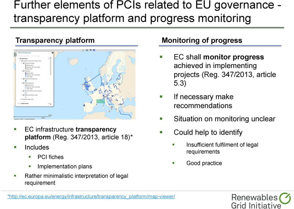 3) If necessary make recommendations Situation on monitoring unclear EC infrastructure transparency platform (Reg.