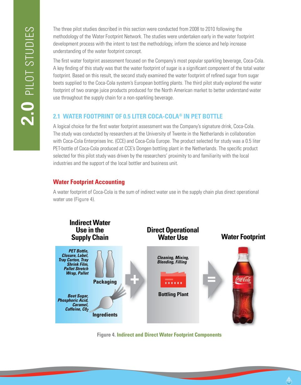 The first water footprint assessment focused on the Company s most popular sparkling beverage, Coca-Cola.