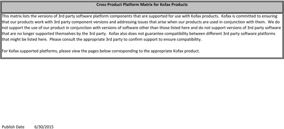 We do not support the use of our product in conjunction with versions of software other than those listed here and do not support versions of 3rd party software that are no longer supported