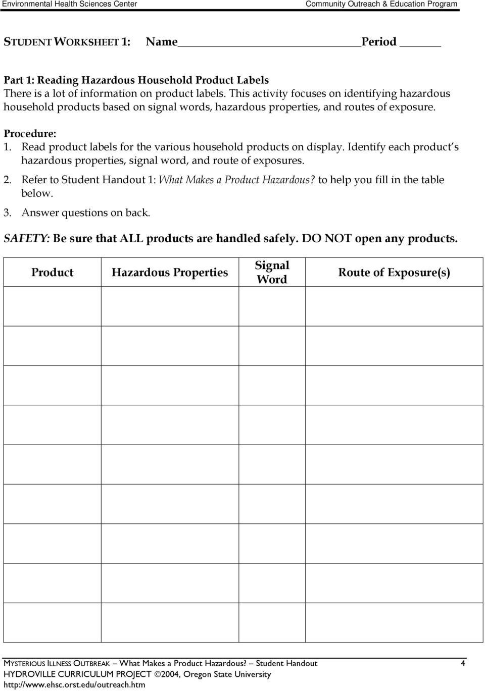 Read product labels for the various household products on display. Identify each product s hazardous properties, signal word, and route of exposures. 2.