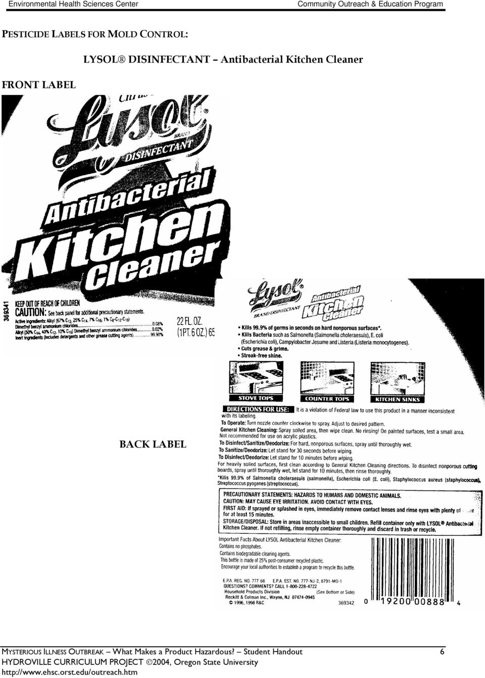 Kitchen Cleaner BACK LABEL MYSTERIOUS ILLNESS
