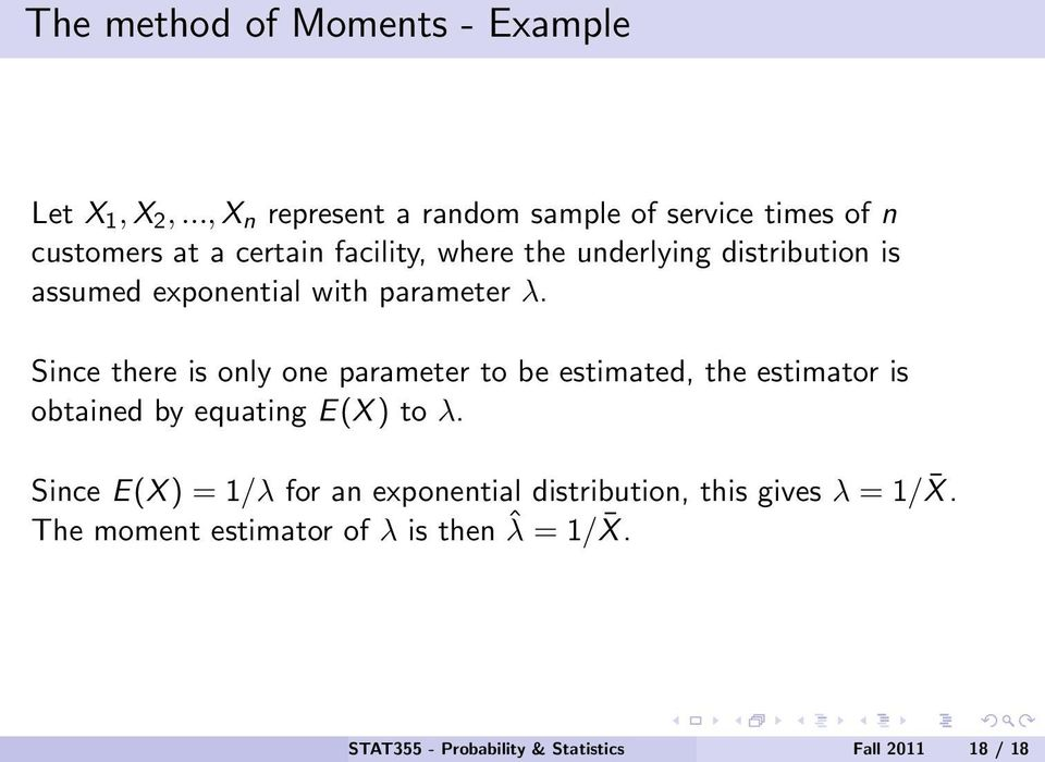 distribution is assumed exponential with parameter λ.