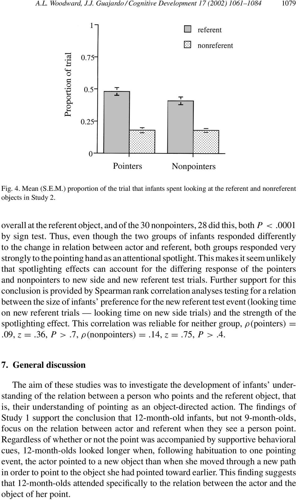 Thus, even though the two groups of infants responded differently to the change in relation between actor and referent, both groups responded very strongly to the pointing hand as an attentional
