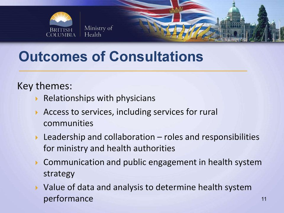 responsibilities for ministry and health authorities Communication and public