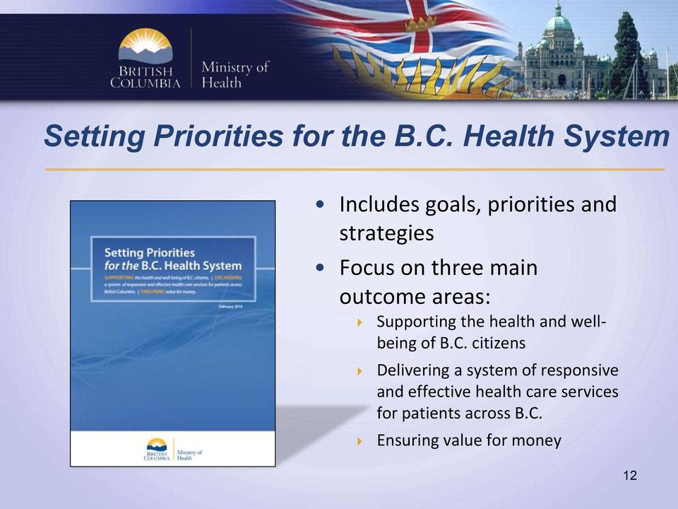 main outcome areas: Supporting the health and wellbeing of B.C.