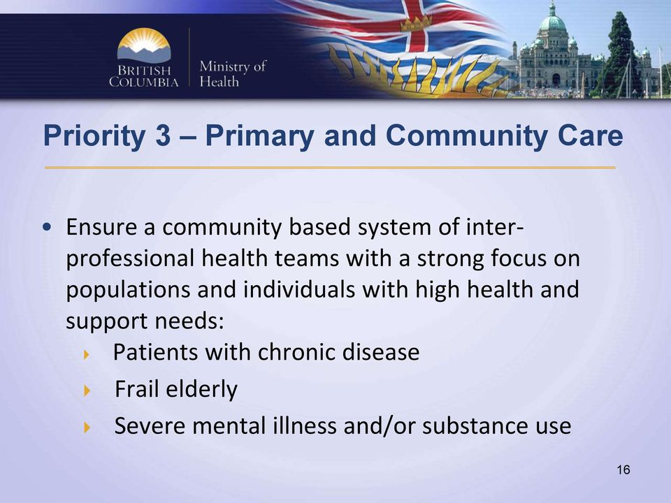 and individuals with high health and support needs: Patients with