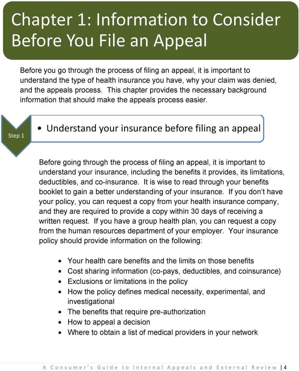 Step 1 Understand your insurance before filing an appeal Before going through the process of filing an appeal, it is important to understand your insurance, including the benefits it provides, its