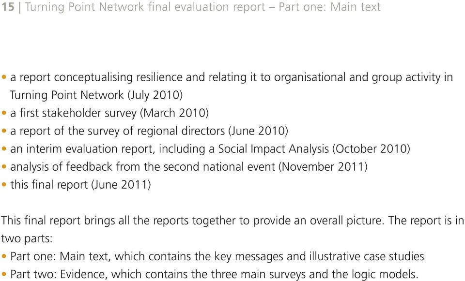 2010) analysis of feedback from the second national event (November 2011) this final report (June 2011) This final report brings all the reports together to provide an overall picture.