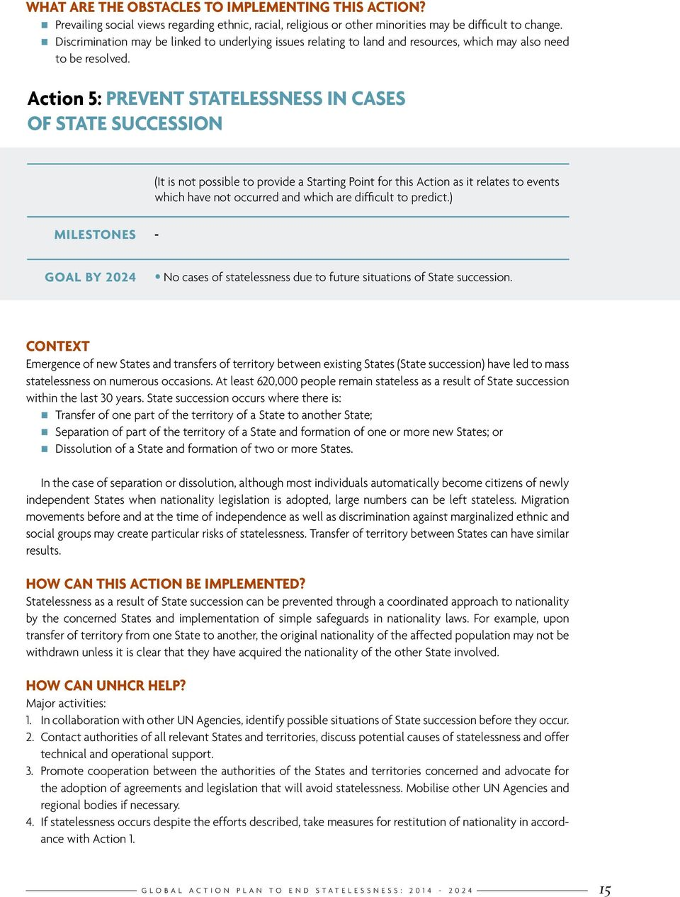 Action 5: PREVENT STATELESSNESS IN CASES OF STATE SUCCESSION (It is not possible to provide a Starting Point for this Action as it relates to events which have not occurred and which are difficult to