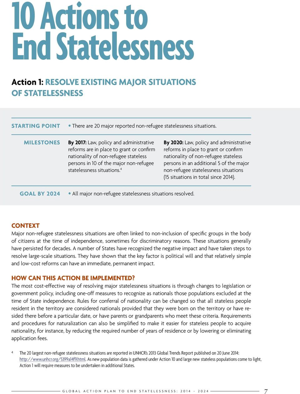 4 By 2020: Law, policy and administrative reforms in place to grant or confirm nationality of non-refugee stateless persons in an additional 5 of the major non-refugee statelessness situations (15
