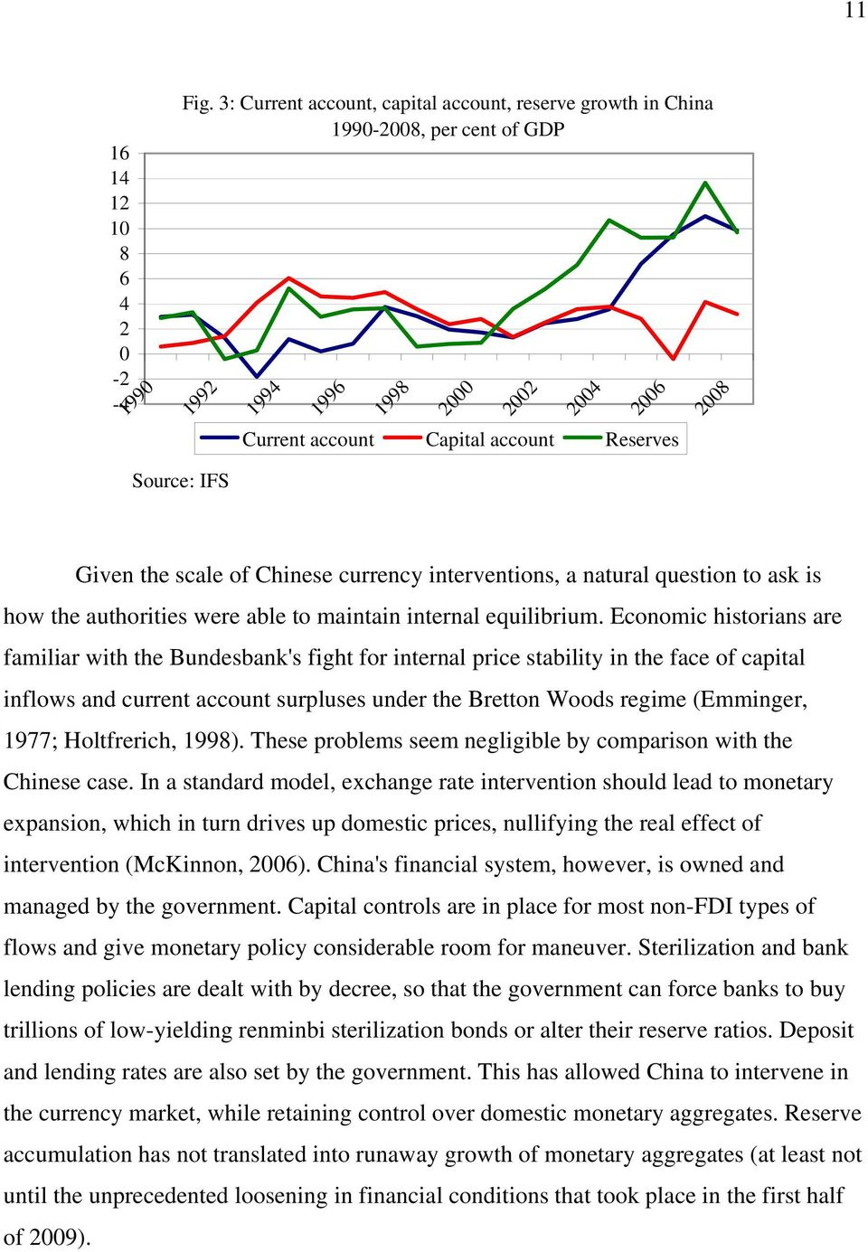 scale of Chinese currency interventions, a natural question to ask is how the authorities were able to maintain internal equilibrium.