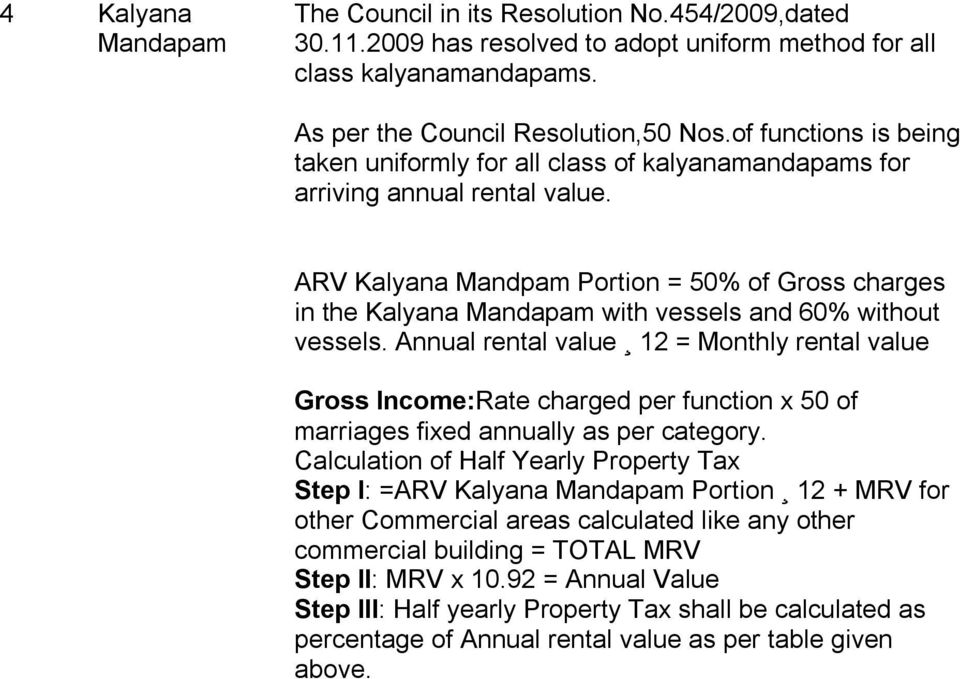 ARV Kalyana Mandpam Portion = 50% of Gross charges in the Kalyana Mandapam with vessels and 60% without vessels.