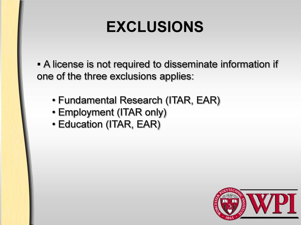 exclusions applies: Fundamental Research