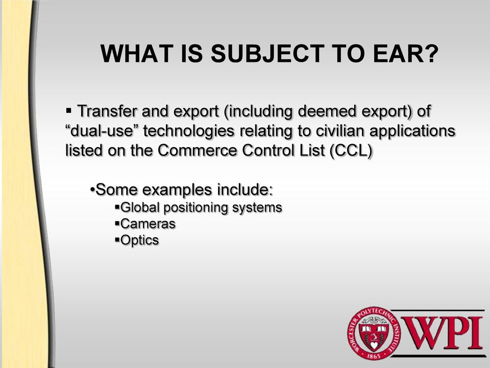technologies relating to civilian applications listed on