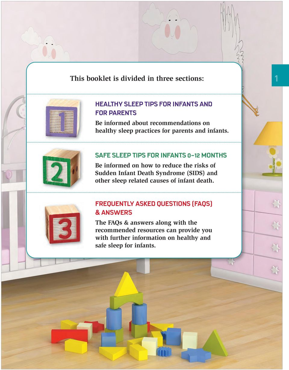 SAFE SLEEP TIPS FOR INFANTS 0-12 MONTHS Be informed on how to reduce the risks of Sudden Infant Death Syndrome (SIDS) and other