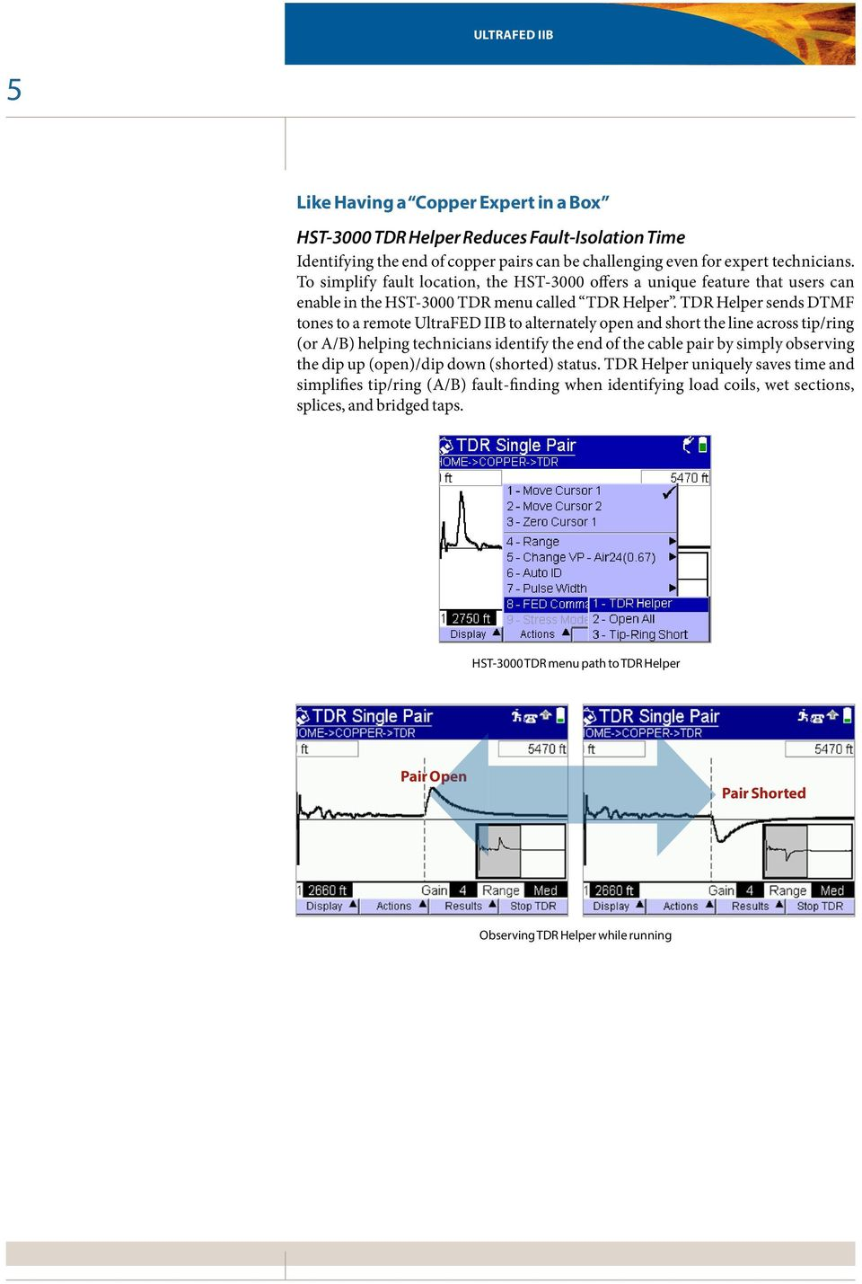TDR Helper sends DTMF tones to a remote UltraFED IIB to alternately open and short the line across tip/ring (or A/B) helping technicians identify the end of the cable pair by simply observing