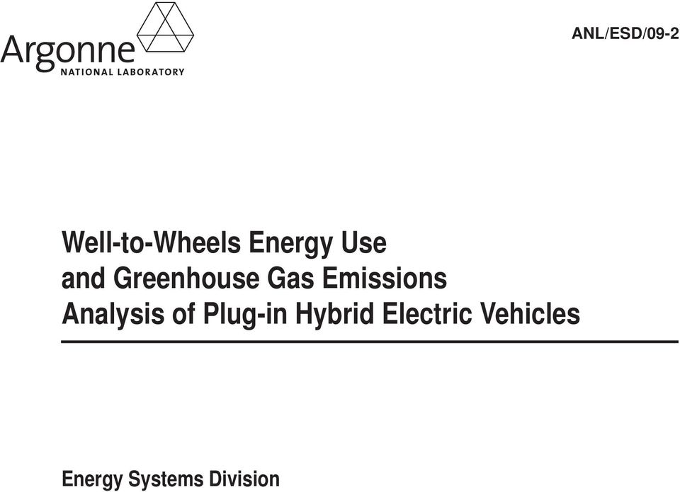 Emissions Analysis of Plug-in