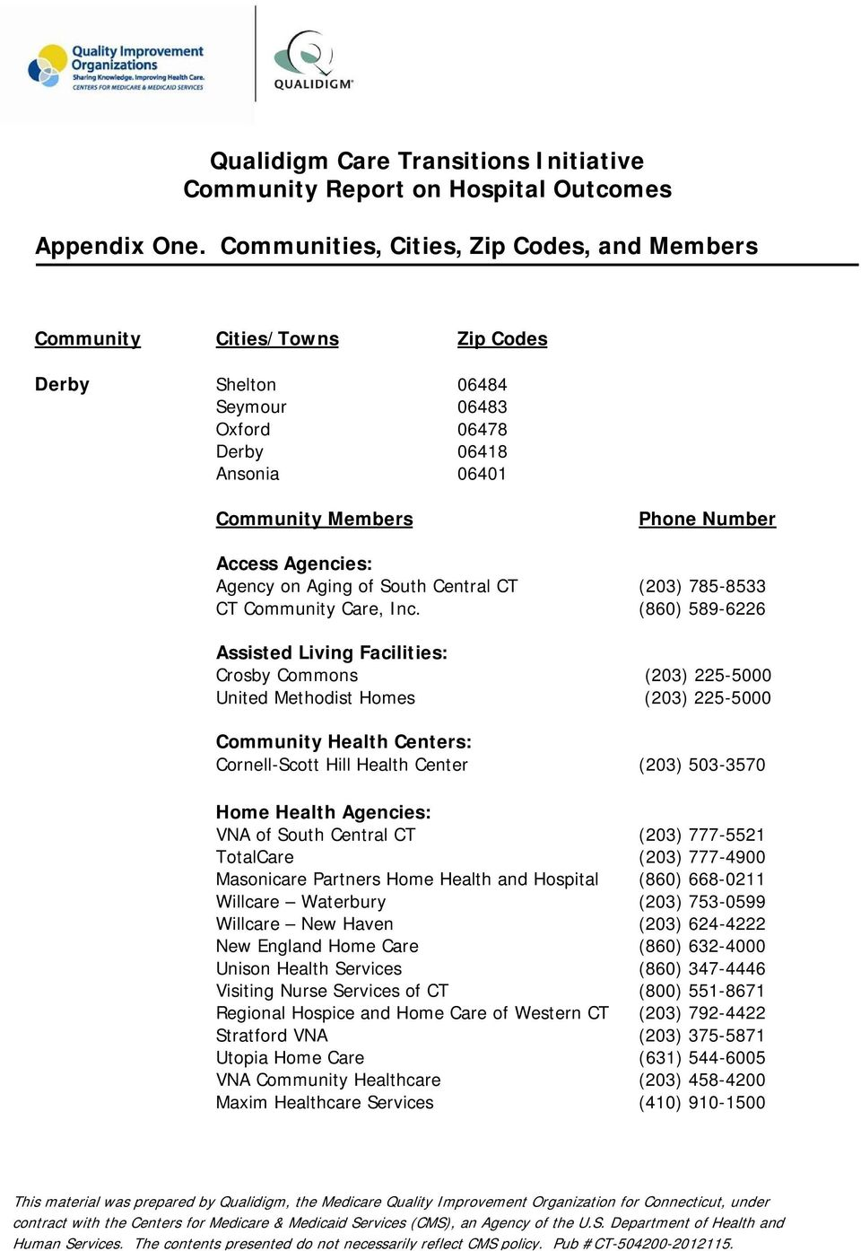 Agency on Aging of South Central CT (203) 785-8533 CT Community Care, Inc.