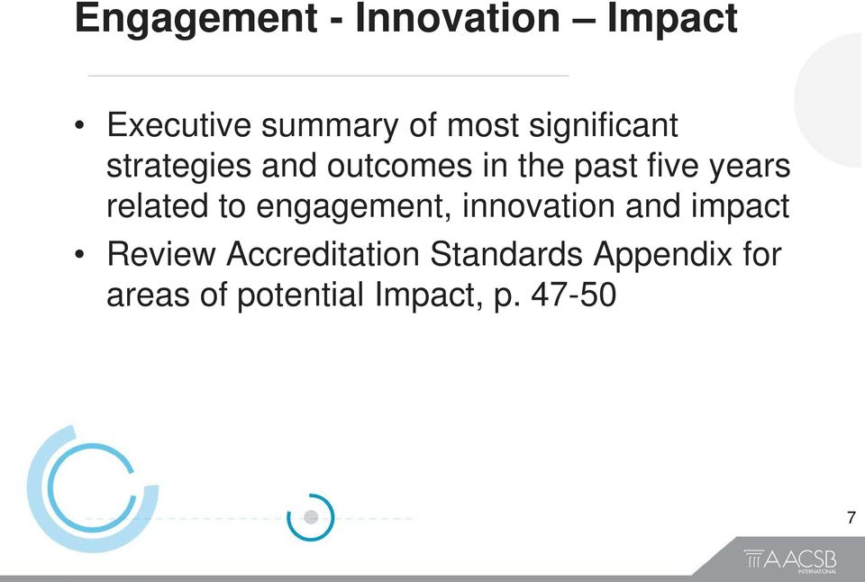 related to engagement, innovation and impact Review
