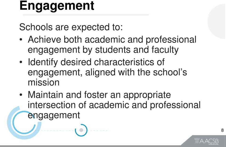 characteristics of engagement, aligned with the school s mission