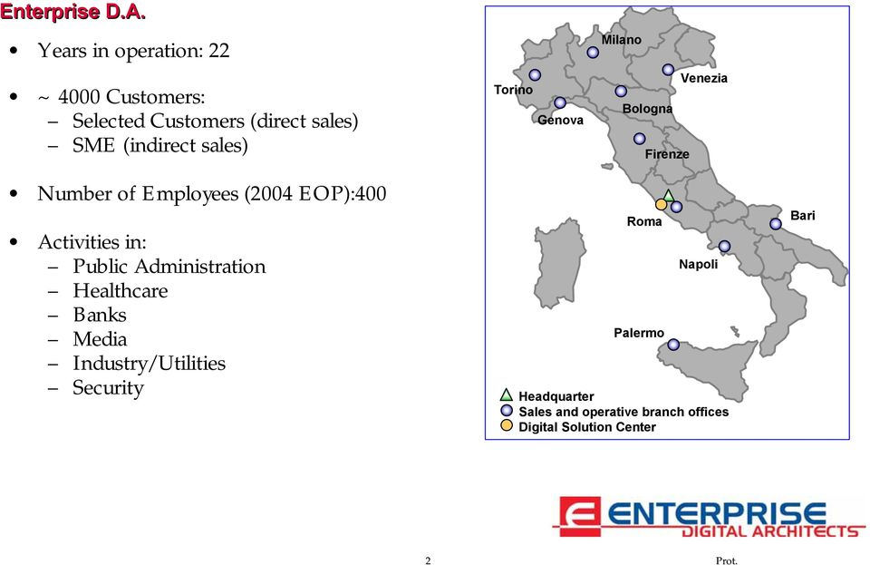 Torino Genova Milano Venezia Bologna Firenze Number of Employees (2004 EOP):400 Activities in: