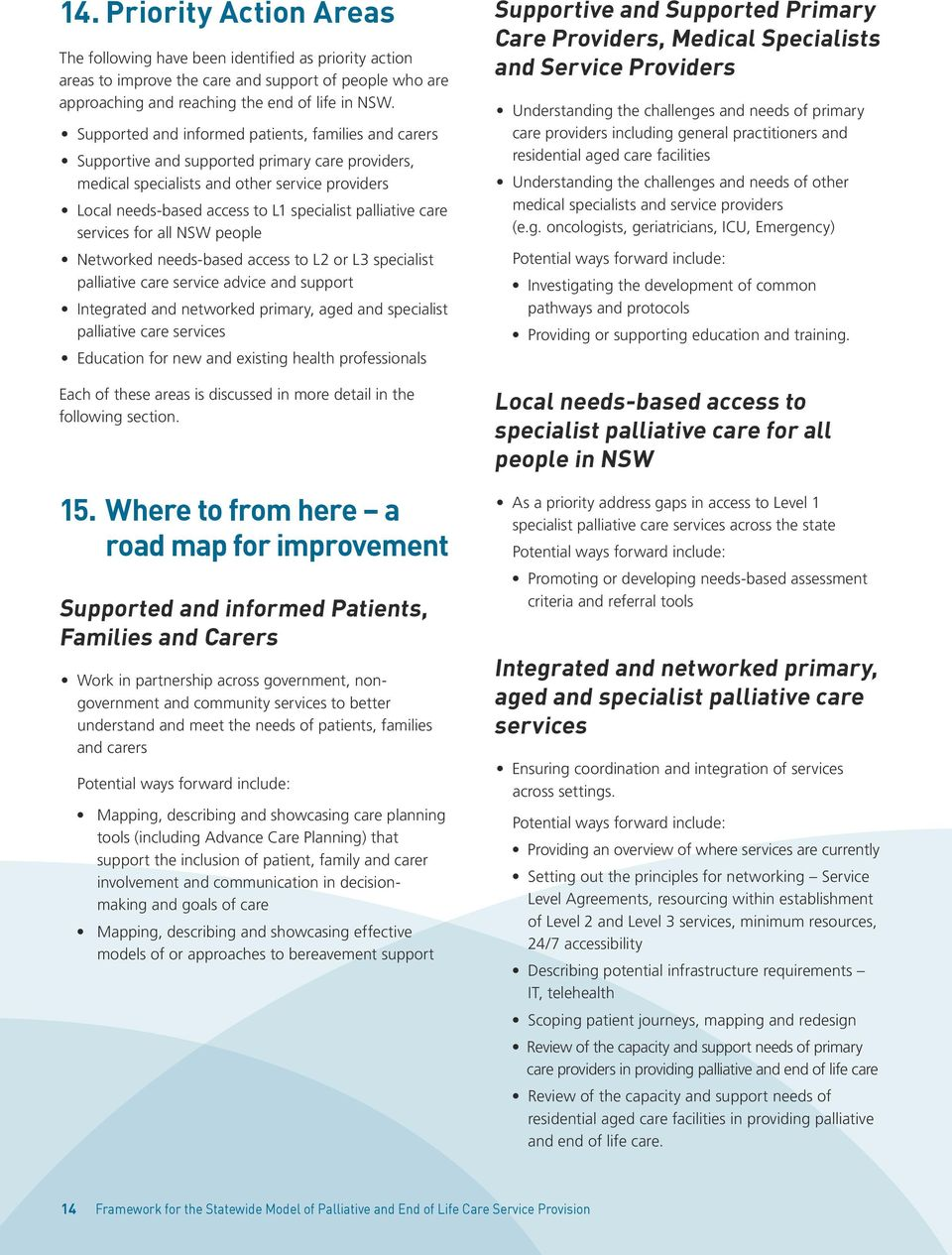 palliative care services for all NSW people Networked needs-based access to L2 or L3 specialist palliative care service advice and support Integrated and networked primary, aged and specialist
