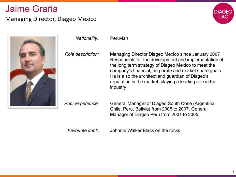 He is also the architect and guardian of Diageo s reputation in the market, playing a leading role in the industry General Manager of