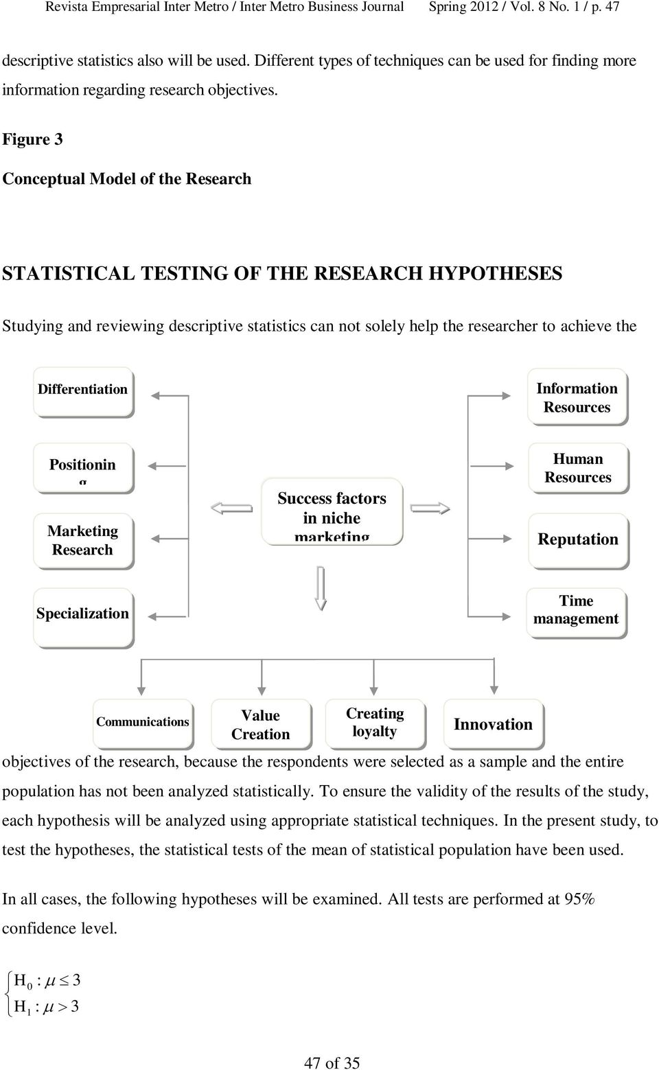Figure 3 Conceptual Model of the Research STATISTICAL TESTING OF THE RESEARCH HYPOTHESES Studying and reviewing descriptive s can not solely help the researcher to achieve the Differentiation