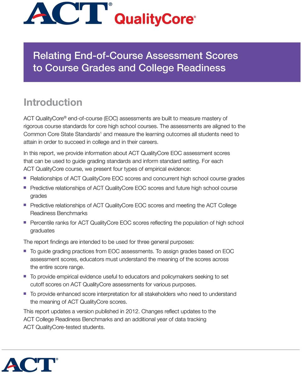The assessments are aligned to the Common Core State Standards 1 and measure the learning outcomes all students need to attain in order to succeed in college and in their careers.
