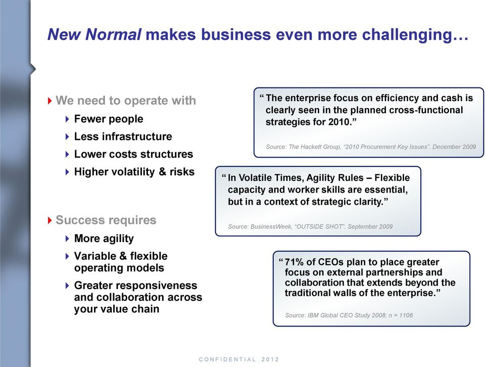 2010. Source: The Hackett Group, 2010 Procurement Key Issues. December 2009 In Volatile Times, Agility Rules Flexible capacity and worker skills are essential, but in a context of strategic clarity.