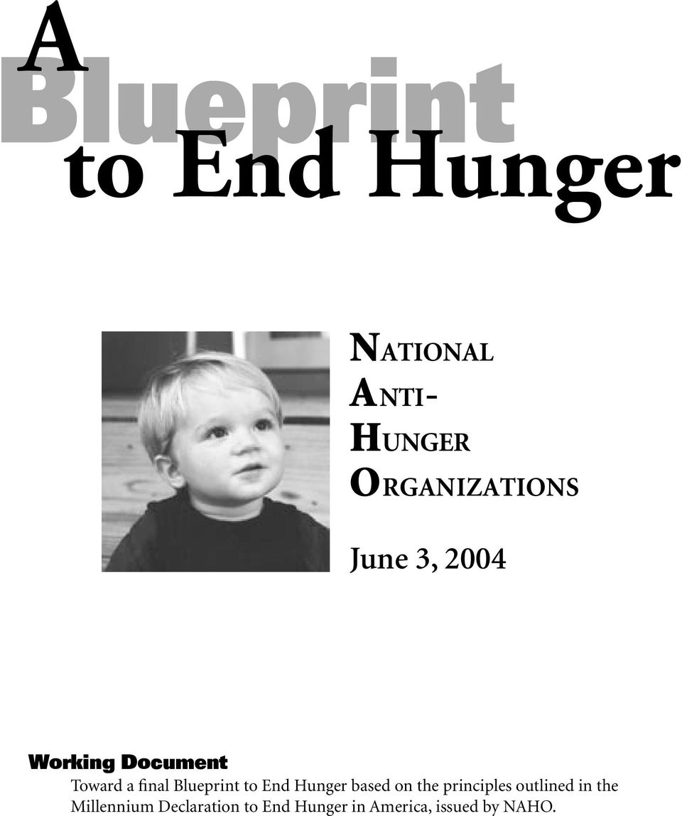 Blueprint to End Hunger based on the principles outlined