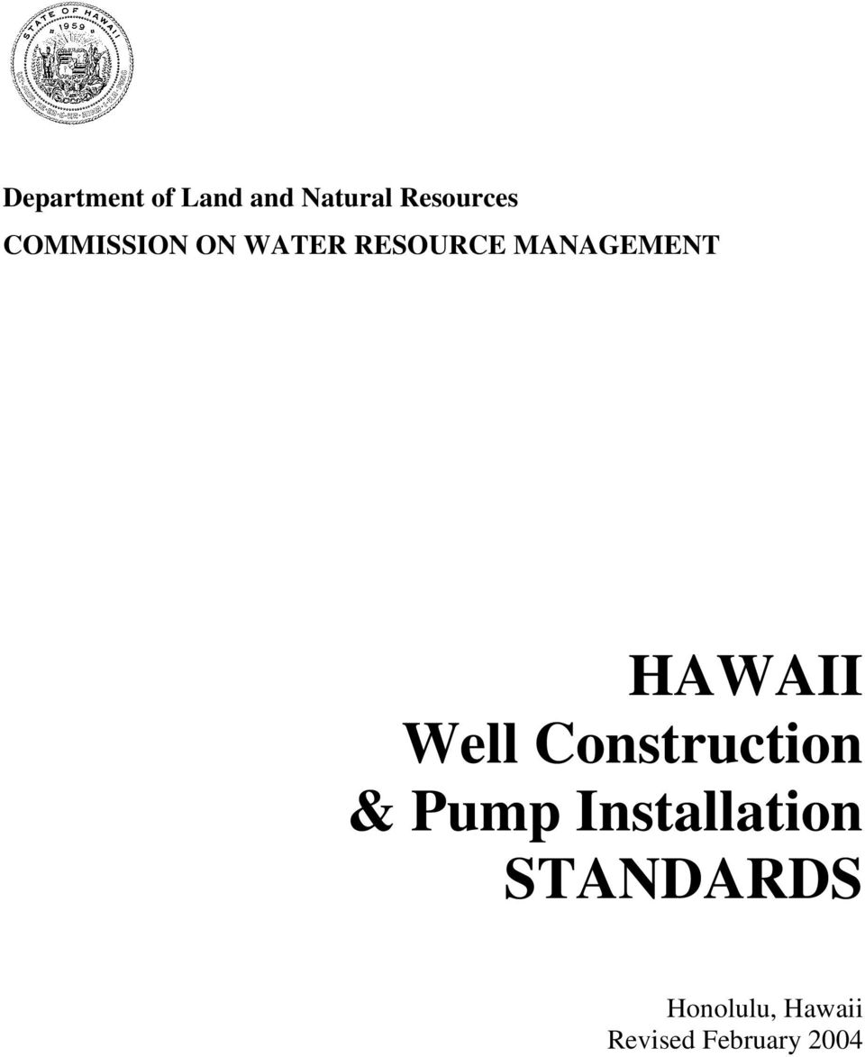 HAWAII Well Construction & Pump