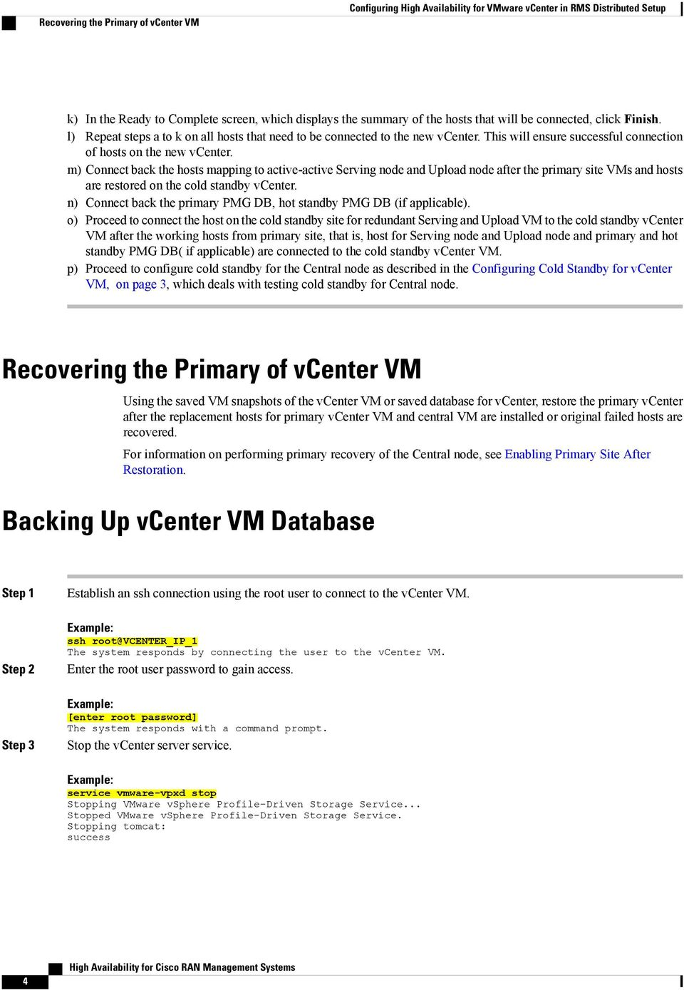m) Connect back the hosts mapping to active-active Serving node and Upload node after the primary site VMs and hosts are restored on the cold standby vcenter.