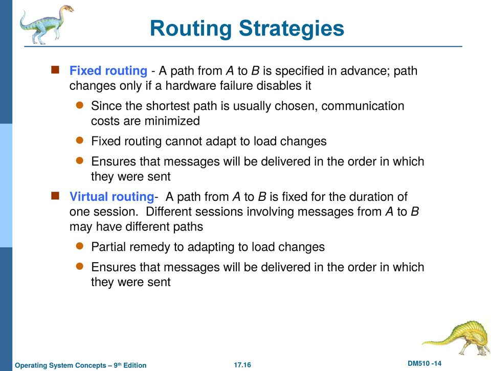 order in which they were sent Virtual routing- A path from A to B is fixed for the duration of one session.