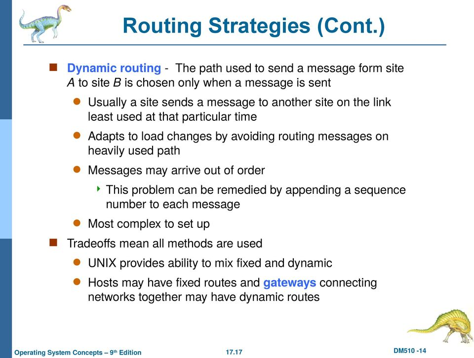site on the link least used at that particular time Adapts to load changes by avoiding routing messages on heavily used path Messages may arrive out of