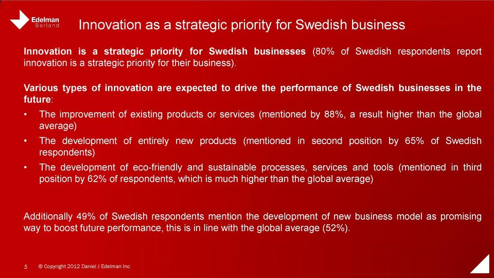 Various types of innovation are expected to drive the performance of Swedish businesses in the future: The improvement of existing products or services (mentioned by 88%, a result higher than the