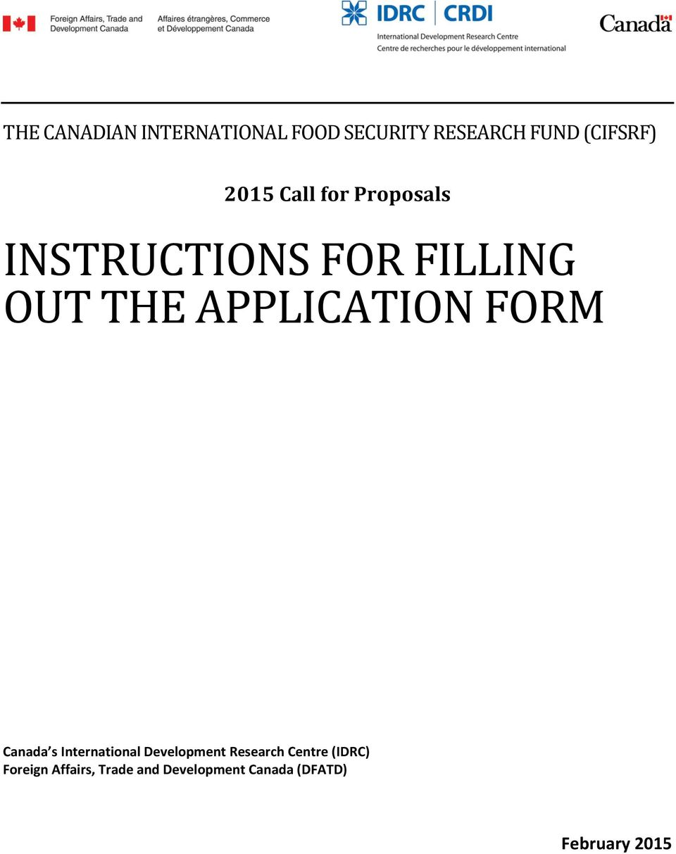 APPLICATION FORM Canada s International Development Research