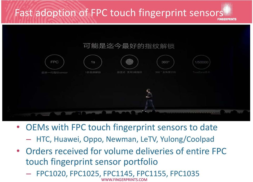 Yulong/Coolpad Orders received for volume deliveries of entire FPC