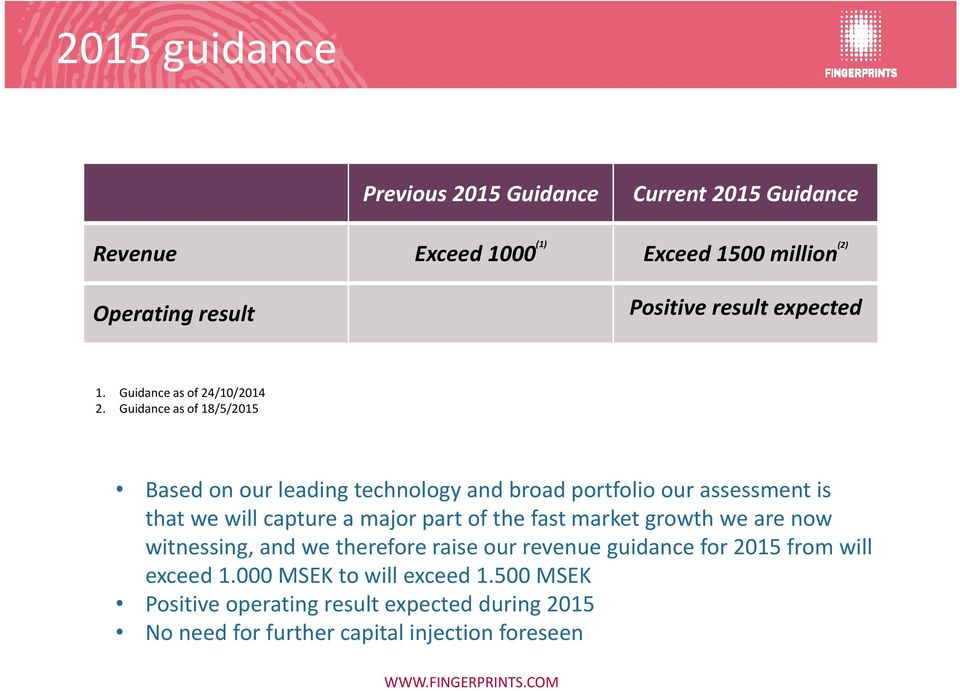 Guidance as of 18/5/2015 Based on our leading technology and broad portfolio our assessment is that we will capture a major part of the