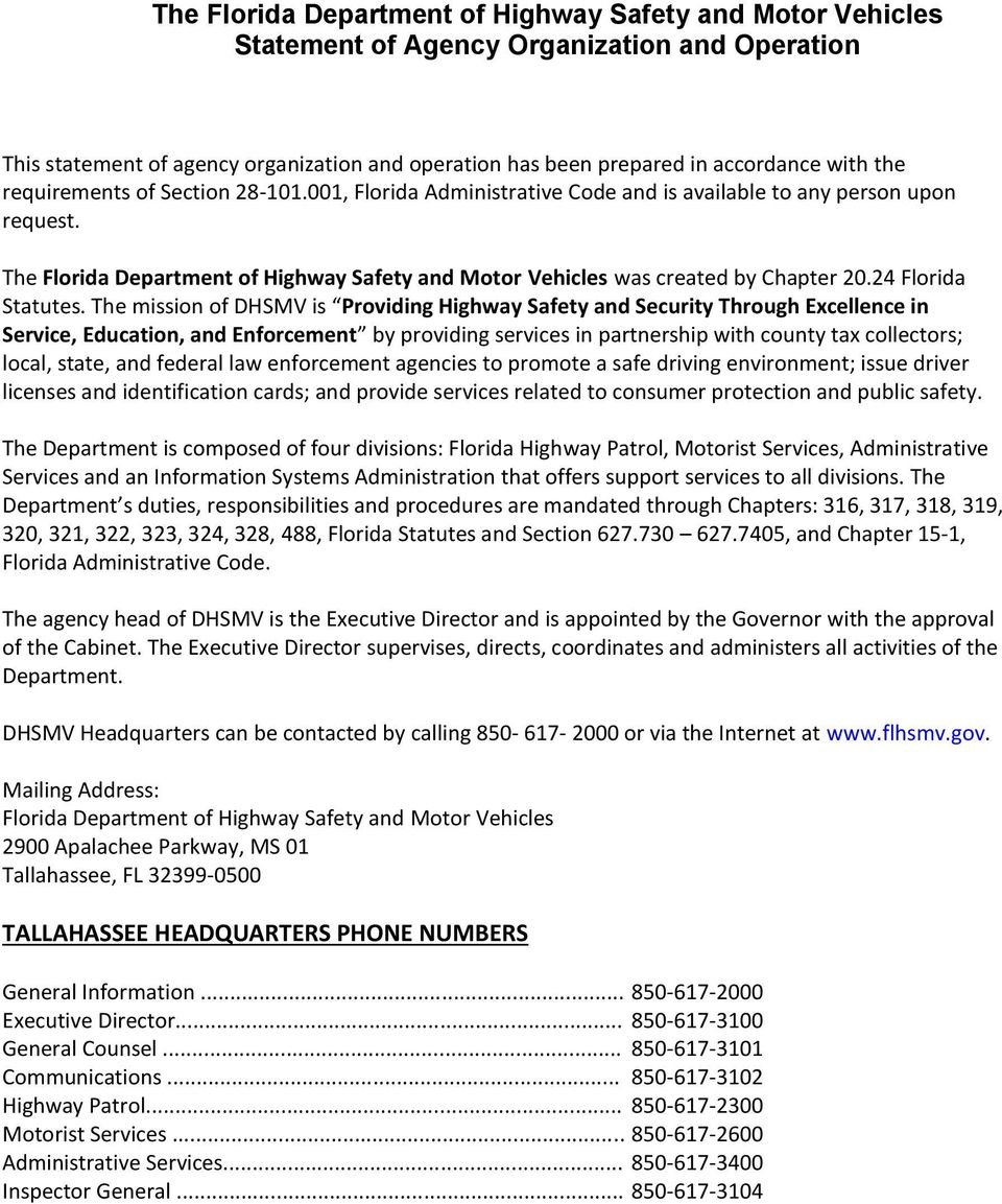 The florida department of highway safety and motor for Florida highway safety and motor vehicles phone number