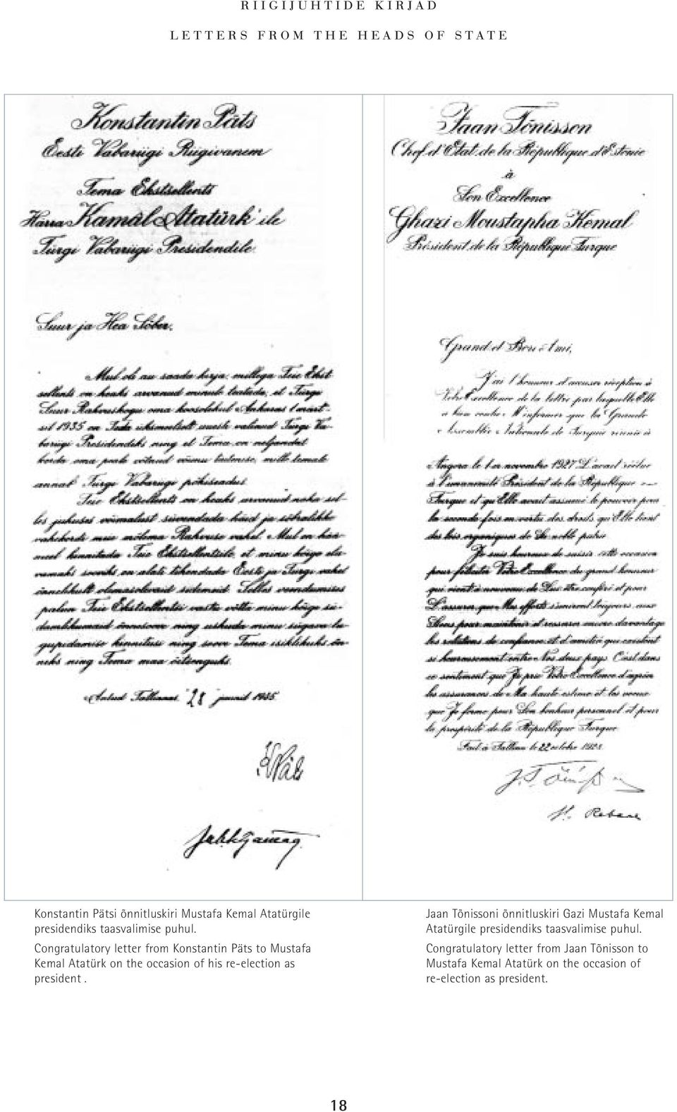 Congratulatory letter from Konstantin Päts to Mustafa Kemal Atatürk on the occasion of his re-election as president.