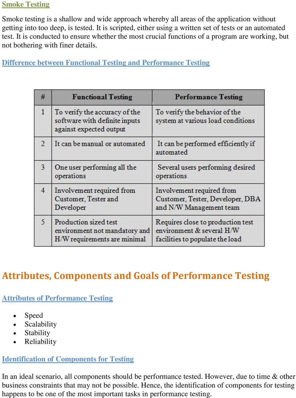Difference between Functional Testing and Performance Testing Attributes, Components and Goals of Performance Testing Attributes of Performance Testing Speed Scalability Stability Reliability